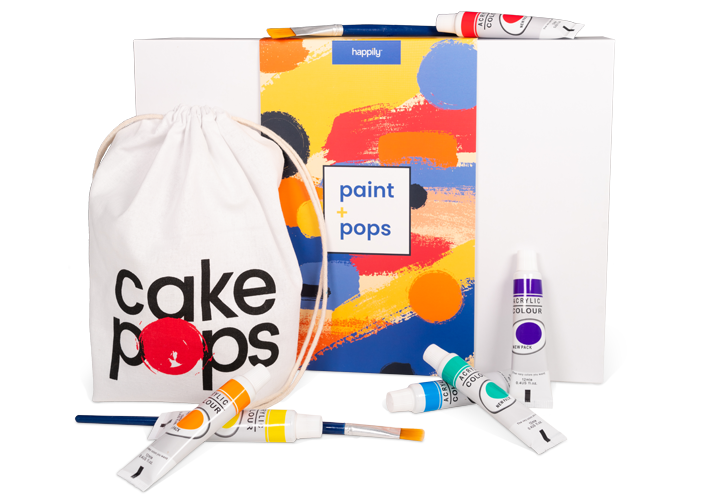 Happily date night subscription featuring paint and cake pop ingredients.